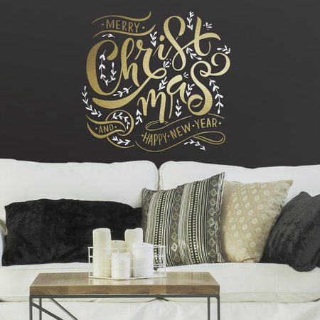 Merry Christmas Quote Peel and Stick Giant Wall Decals With Metallic Ink ()