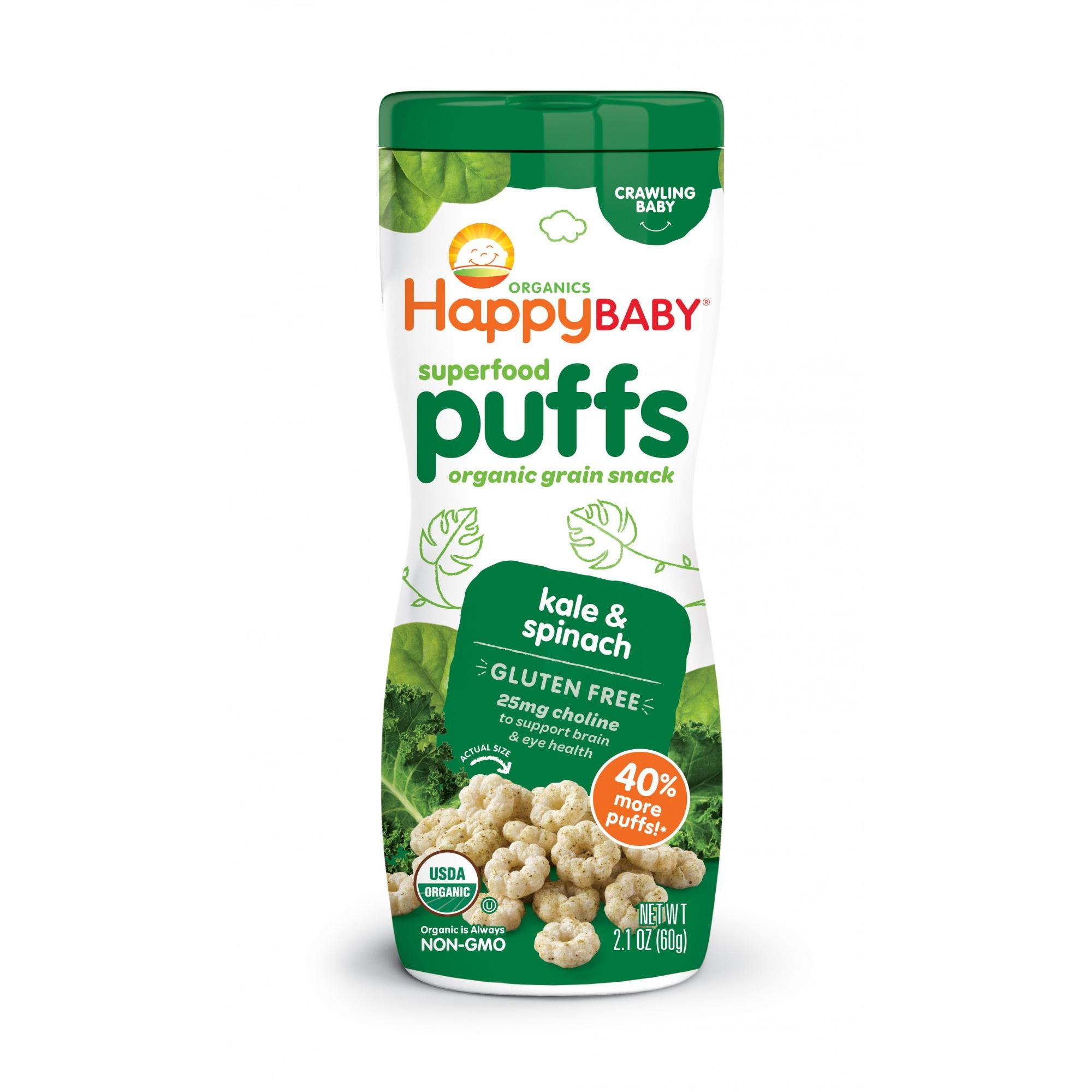 Happy Baby Organic Baby Food Puffs Kale and Spinach 2.1 oz
