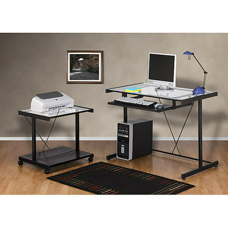 Computer Desk and Printer Cart Value Bundle, Black Metal and Glass
