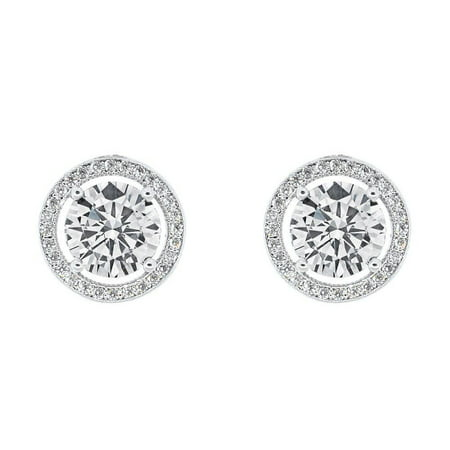 Cate & Chloe Ariel 18k White Gold Halo CZ Stud Earrings, Silver Simulated Diamond Earrings, Round Cut Earring Studs, Best Gift Ideas for Women, Girls, Ladies, Special-Occasion Jewelry - msrp $99 ()