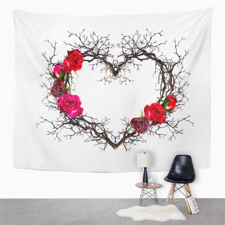 ZEALGNED Red Black Floral Wreath Heart Shape Twigs Rose Flowers Watercolor in Gothic Style Wall Art Hanging Tapestry Home Decor for Living Room Bedroom Dorm 51x60