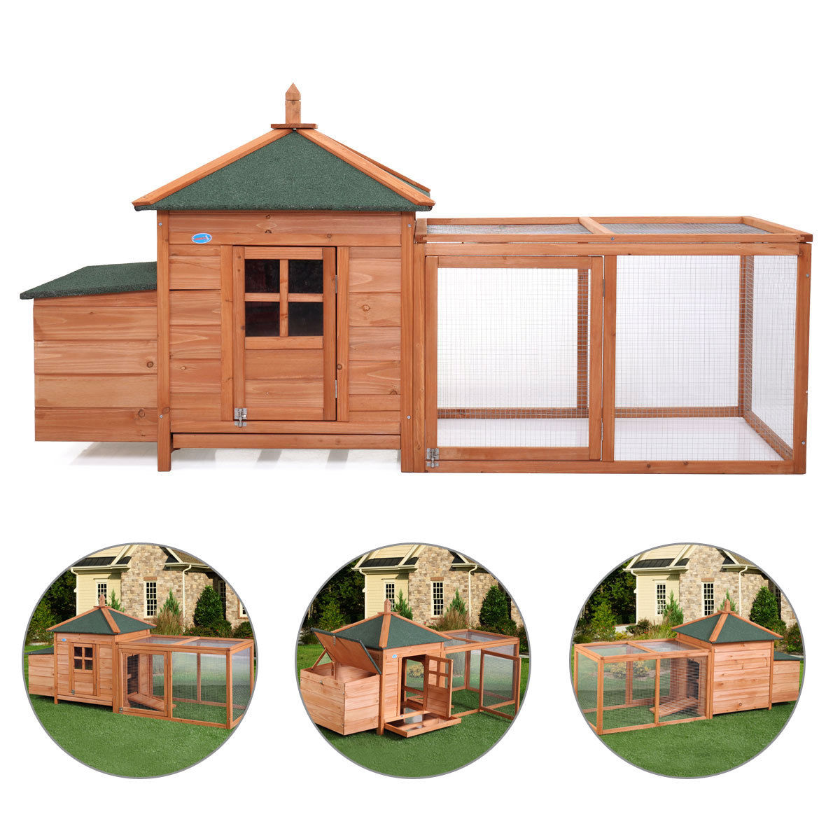Wooden Chicken Coop Poultry House Nesting Box Run Backyard Rabbit Hunch