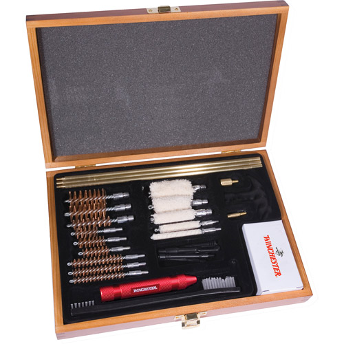 Winchester Universal Gun Cleaning Kit in Wooden Presentation Box, 30pc