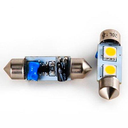 Camco 54636 212 Bright White Light LED Bulb with SV8.5-8 Festoon Base, 2-Pack (Led Festoon Lighting)
