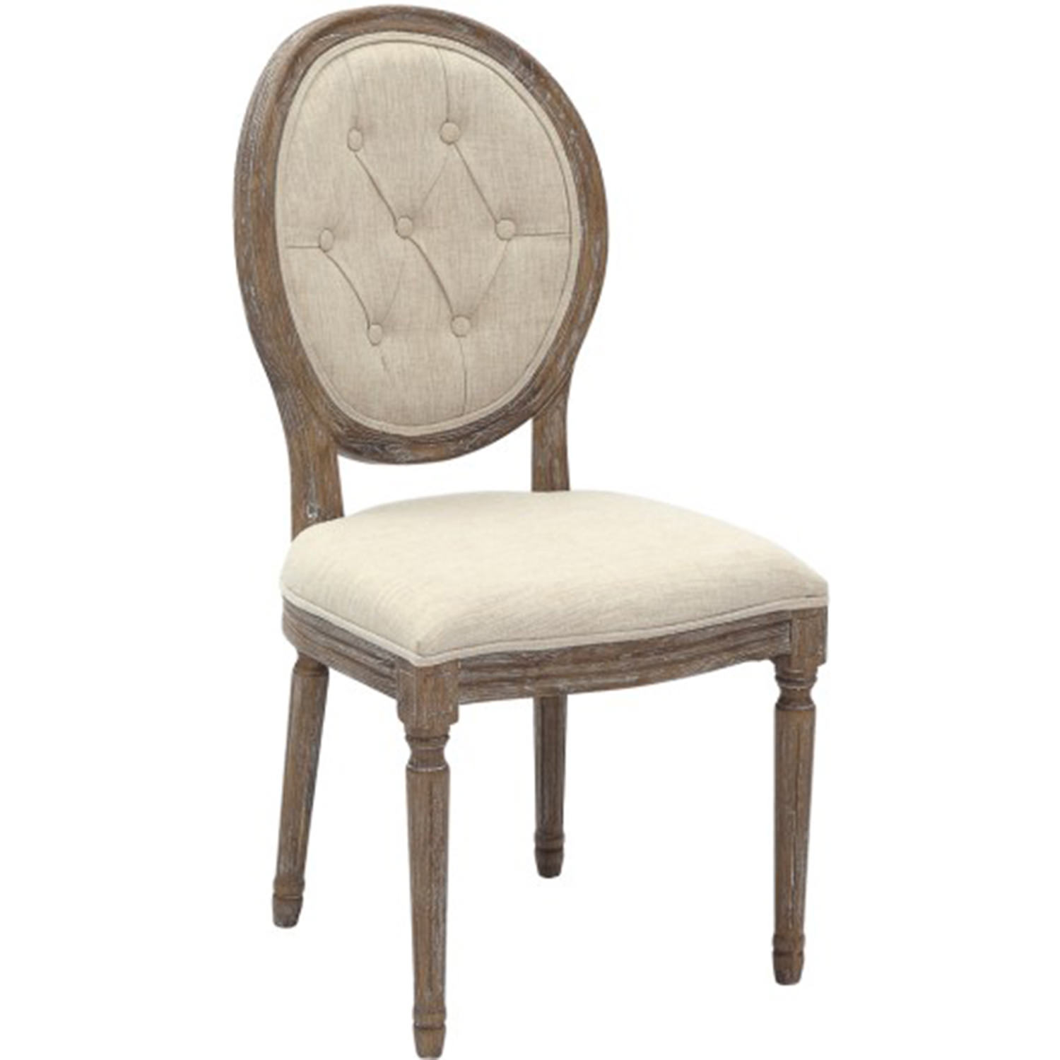 2xhome Cream Color Upholstered Button Tufted Back Fabric Ghost Chair Dining Chair Modern Side Chair Solid Wood Legs