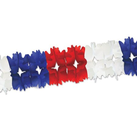 Club Pack of 12 Red, White and Blue Festive Pageant Garland Decorations 14.5' (Red White And Blue Garland)