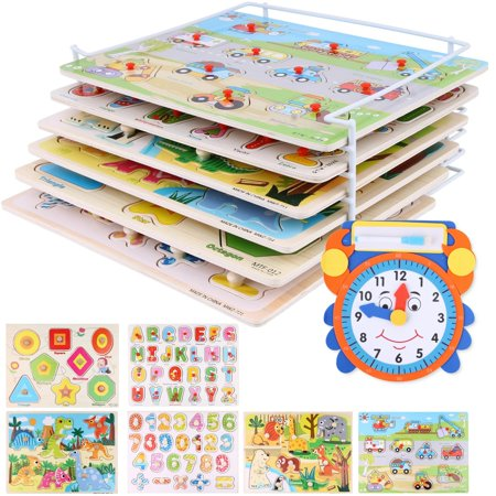 Wooden Six Pack Holder (Wooden Peg Puzzle Set Toddlers – (Pack of 6) Bundled with Storage Holder Rack and Learning Clock – Kids Educational Preschool Puzzles for)