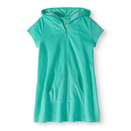 Girls Zip Front Hooded Swim Cover Up