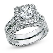 Sterling Silver Cubic Zirconia Halo 1.6 Carat tw Princess Cut CZ Filigree Wedding Engagement Ring Set, Nickel Free Sz 7