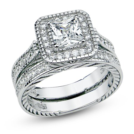 Sterling Silver Cubic Zirconia Halo 1 6 Carat Tw Princess Cut Cz Filigree Wedding Engagement Ring Set  Nickel Free Sz 7