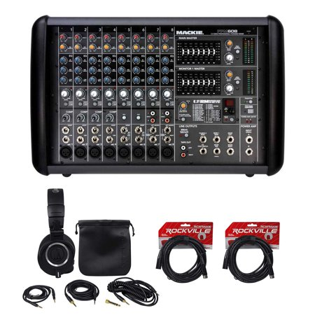 mackie ppm608 8 ch 1000w pro powered mixer with 32 bit fx headphones cables. Black Bedroom Furniture Sets. Home Design Ideas
