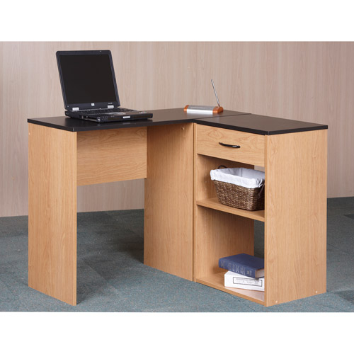 Orion Corner Desk with Bookcase Storage, Alder Oak