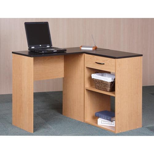Orion Corner Desk with Bookcase Storage, Alder Oak