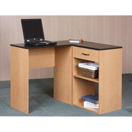 orion corner desk with bookcase storage alder oak. Black Bedroom Furniture Sets. Home Design Ideas