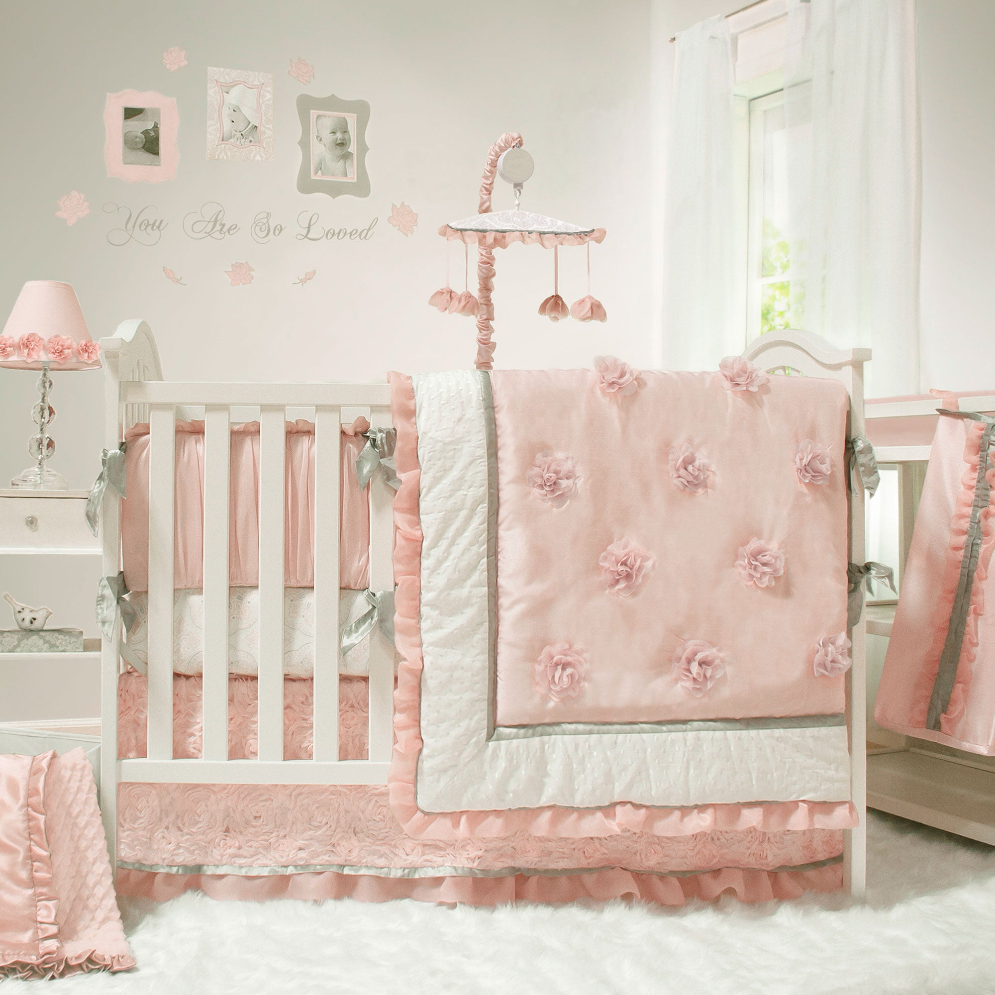 The Peanut Shell Baby Crib Bedding Set Pink And White Arianna 4 Piece