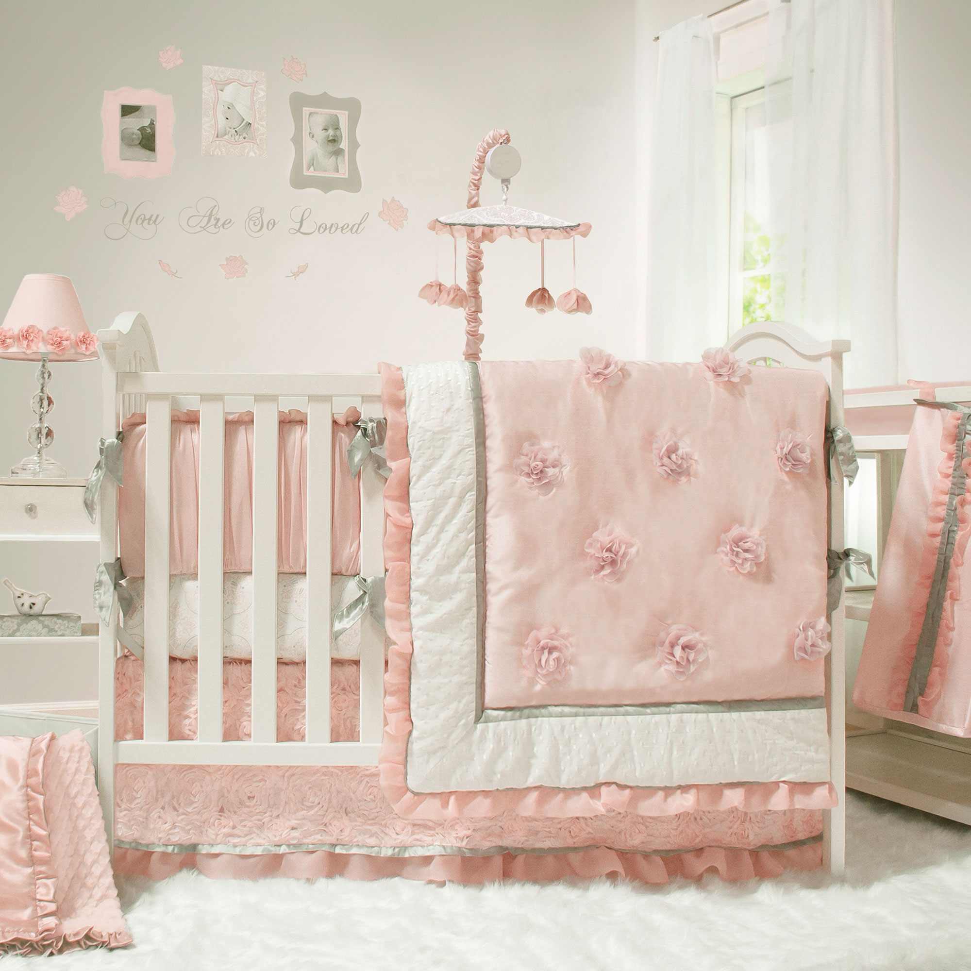 The Peanut Shell Baby Girl <mark>Crib</mark> Bedding Set - Pink and White - Arianna 4 Piece Set