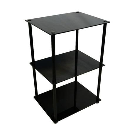 Convenience Concepts Designs2Go No Tools 3 Tier Lamp / End Table, Black Glass