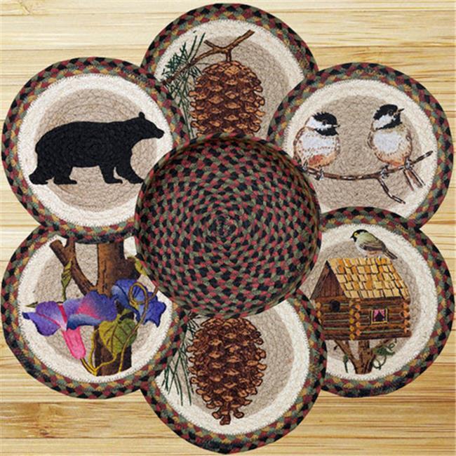 Earth Rugs 56-081CB Trivets in a Basket, Cabin Bear