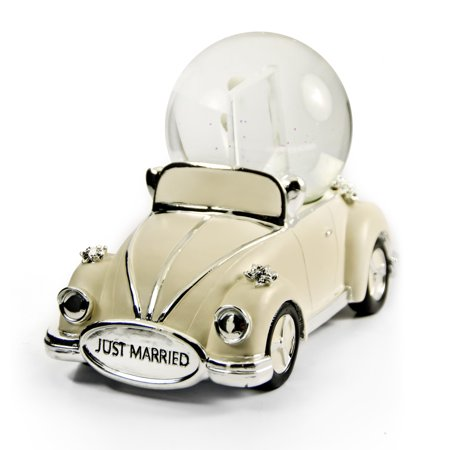 Iconic Just Married Ivory And Silver VW Beetle With Photo Frame Musical Snow Globe - Auld Lang (It's Halloween Night Cars)