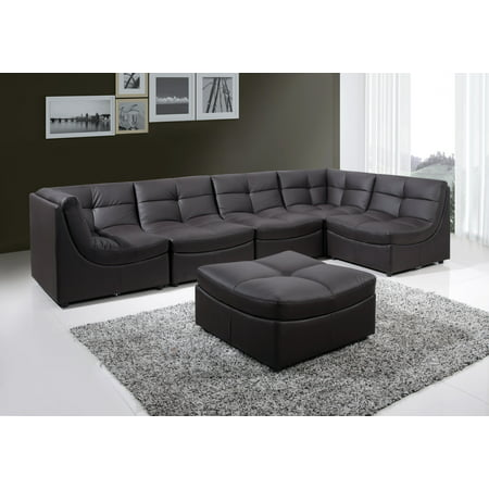 Best Master Furniture Cloud Modular Sectional 6 Pcs in Brown Bonded Leather