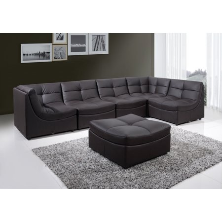 Best Master Furniture Cloud Modular Sectional 6 Pcs in Brown Bonded