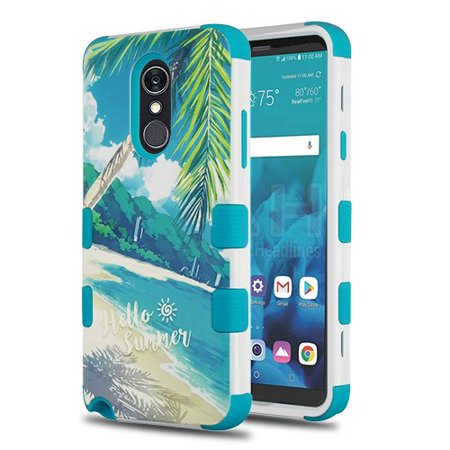 Wydan Case Compatible For LG Stylo 4 - Tuff Hybrid Shockproof Case Protective Heavy Duty Phone Cover - Palm Beach Tropcial Teal (Palm Protective Case)