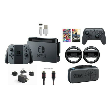 Nintendo Switch 32gb Console Gray Joy Con Bundle Mario Kart 8 Deluxe And Deluxe Travel Case The Legend Of Zelda Breath Of The Wild Pro