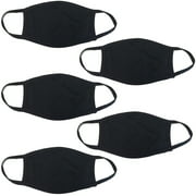 5Pcs Unisex Cloth Face Mask Protect Reusable 100% Cotton Comfy Washable Made In USA Black Covering Masks