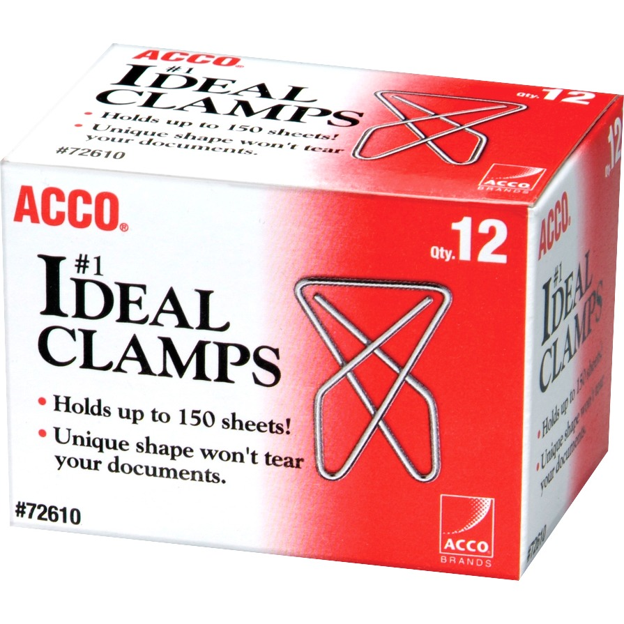 ACCO Ideal Paper Clamp (Butterfly Clamp), Smooth Finish, #1 Size (Large), 12/Box, Silver, 12 / Box (Quantity)