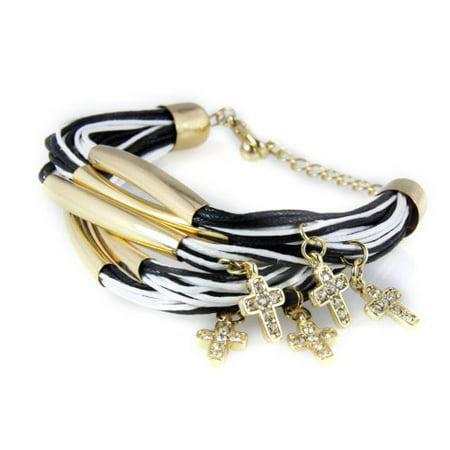 Black & White Cross Bracelet Christian Charm Jelly Look Rhinestones