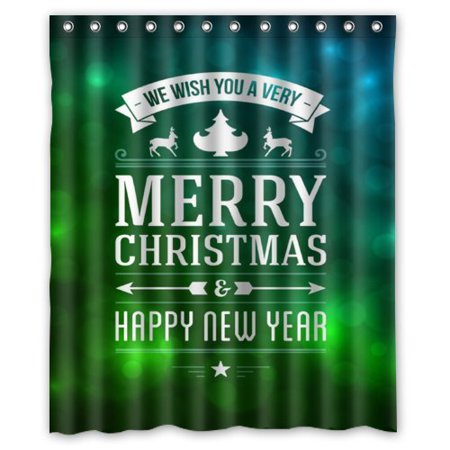 New Fantasy Green - ARTJIA Fantasy Green Background MERRY CHRISTMAS HAPPY NEW YEAR Shower Curtain Waterproof Polyester Fabric Bathroom Curtain 60x72 inch
