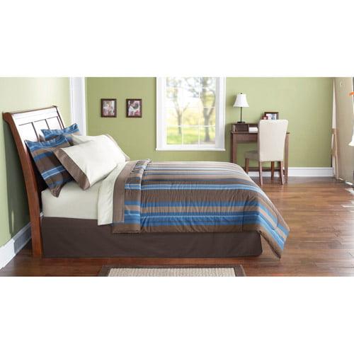 Mainstays Bed in a Bag Bedding Set, Blue Stripe
