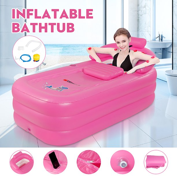 Pink Inflatable Adult Bath Tub Free Standing Blow Up Bathtub With Foldable Portable Feature W Air Pump Walmart Com Walmart Com