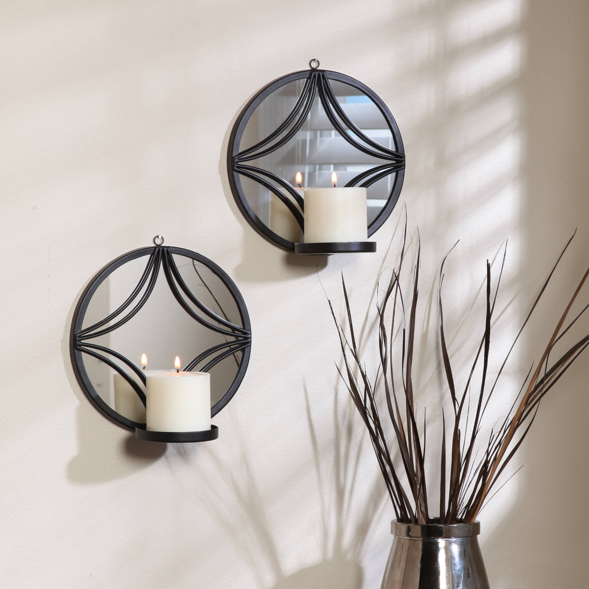 Click here to buy Better Homes and Gardens Geometric Mirror Sconces, Set of 2.