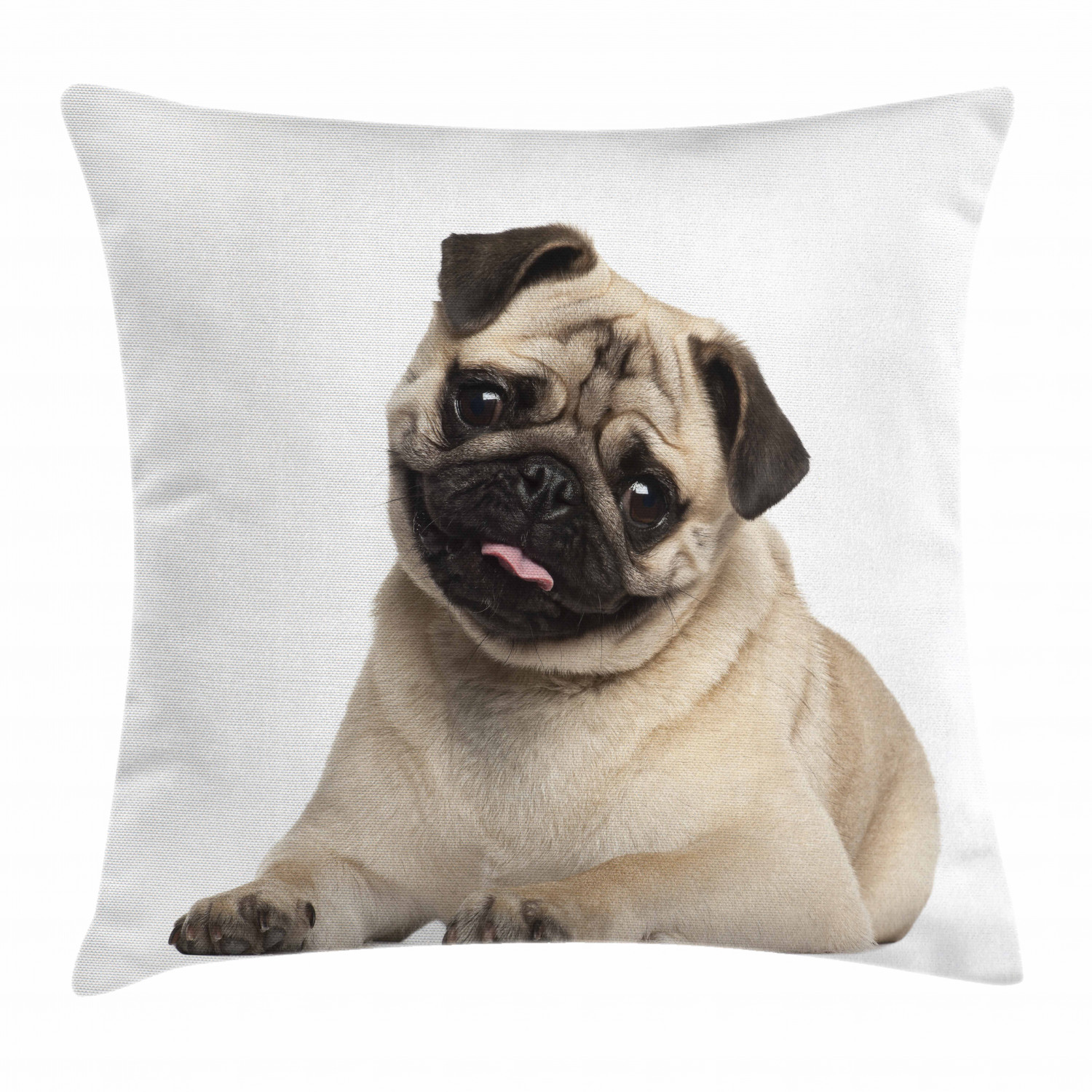 Pug Throw Pillow Cushion Cover Nine Months Old Pug Puppy Lying Around Cute Pet Funny Animal Domestication Print Decorative Square Accent Pillow Case 16 X 16 Inches Pale Brown Black By Ambesonne