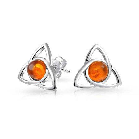 Irish Triquetra Celtic Trinity Knot Tiny Orange Amber Stud Earrings For Women 925 Sterling Silver Polished Finish - Amber Polished Edge