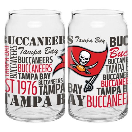 Boelter Brands NFL Set of Two 16 Ounce Spirit Glass Can Set, Tampa Bay Buccaneers