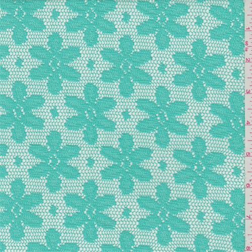 Aqua Green Daisy Crochet Lace, Fabric By the Yard