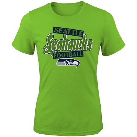Girls Youth Neon Green Seattle Seahawks Team Glitter T-Shirt