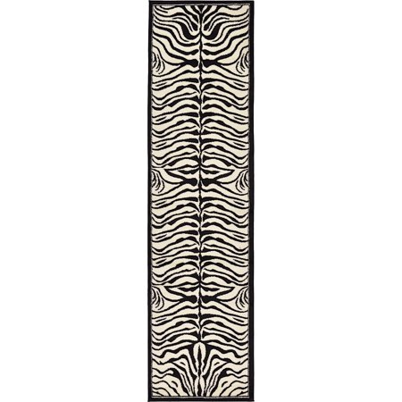 Animal Inspirations WIld Collection Area Rug in Zebra Border and Rectangle, Round, Runner, Square Shape