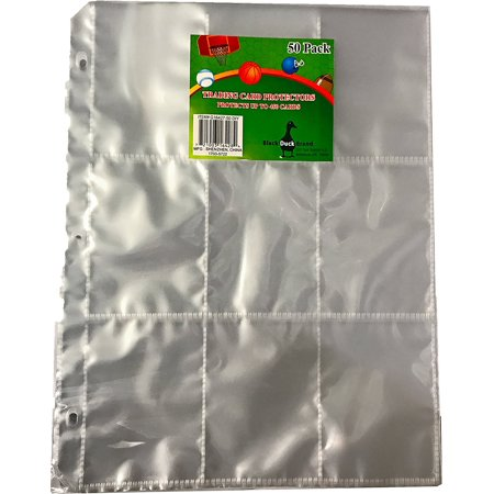Trading Card Protector Sheets 9 Pocket X 50 Plastic Pages Holds 450 Cards (3-Ring Binder Compatible) (Card Sleeves Skeleton)
