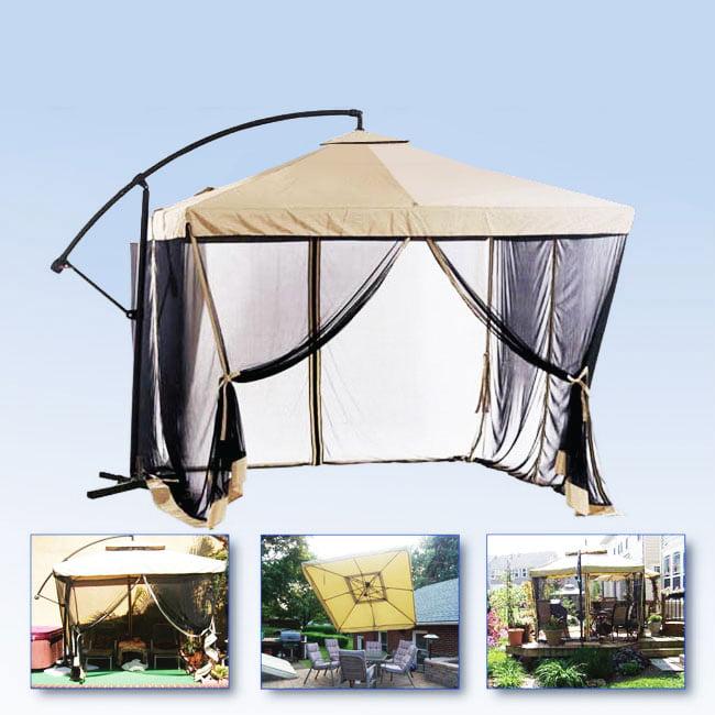 Apontus Offset Tan Patio Umbrella Instant Gazebo with Mesh Netting by Apontus