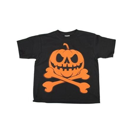 Unisex Little Kids Black Pumpkin Skull Cross Bones Halloween Cotton - Deadman's Cross Halloween