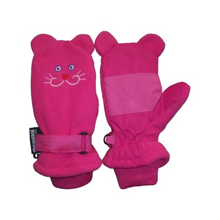 NICE CAPS Little Girls Fuchsia Waterproof and Thinsulate Lined Insulated Kitty Face Winter Snow Mitten - Fits Toddler Children Kids Child Youth Sizes For Cold Weather ()