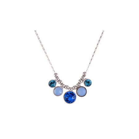 Dangle Birthstones Jewelry - Blue Milk Opal Zircon Bead Spotlights Crystal Dangle Necklace Jewelry