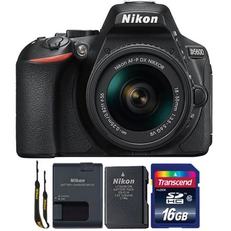 Nikon D5600 24.2MP Digital SLR Camera with 18-55mm Lens and 16GB Memory Card