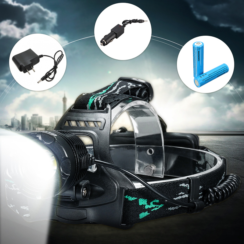 Elfeland 3800lm XTM T6 LED Zoom Rechargeable Headlamp Headlight Head Torch Lamp Headlights & Lights Lantern 3 Modes + 2 x18650 Battery + AC/Car Charging Plug