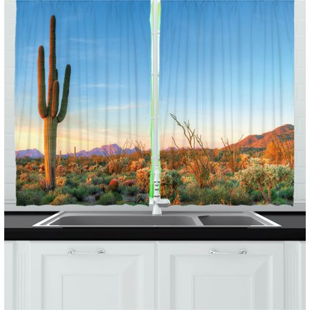 Cactus Curtains 2 Panels Set, Photo of Cactus with Spikes Plant Flower in a Desert at the Sunset Lansdcape Image, Window Drapes for Living Room Bedroom, 55W X 39L Inches, Multicolor, by Ambesonne](The Living Desert Halloween)