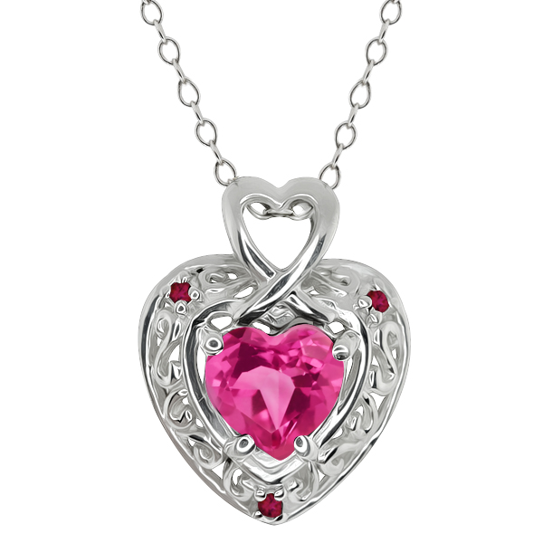 1.63 Ct Heart Shape Pink Mystic Topaz and Rhodolite Garnet 18k White Gold Pendant by