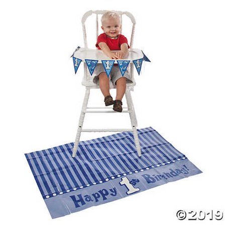 Blue 1st Birthday High Chair Decorating Kit - 1st Birthday High Chair Decorations